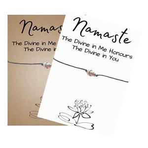 Buddha Namaste Spiritual Verse Card Wish Bracelet Buddha Charm - Friendship