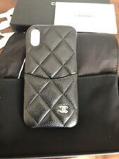 NIB Authentic CHANEL iphone X/XS black caviar leather case 2020 RARE!