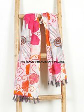 Kantha Scarf Floral Neck Wrap Stole Dupatta Hand Quilted Women Cotton Scarves