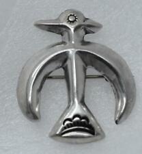 FELIX JOE Navajo FJ Figural THUNDERBIRD Hollow Puffy Sterling Silver Brooch Pin