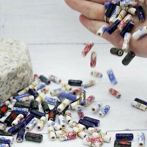 10 Porcelain Tube Beads Greek Ceramic 17mm Findings Floral Assorted Lot