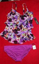St Tropez Ruffle Tankini Top with Calvin Klein size XL/14 Btms Purple Print