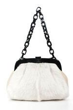 CHANEL - White Rabbit Fur Leather Silver HW Black Resin Frame Satchel Handbag
