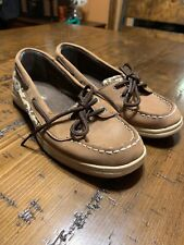 EUC Sperry Top Sider Womens Boat Shoes Leopard Cheetah Print Sequin Size 5m