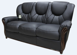 Lucca New 3 Seater Black Italian Real Leather Sofa Settee Handmade Couch