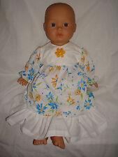 "Handmade White Yellow Blue Flower Dress. Fit Baby Born/Annabell16/18"" Doll"