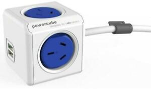 ALLOCACOC POWERCUBE Extended 4 Outlets Power Board with 2 USB 3M - Blue. OW (542