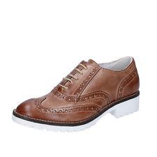 scarpe donna CROWN 36 classiche marrone pelle BZ932-B