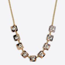 J CREW Tortoise Square Crystal Necklace Blonde Tort NWT