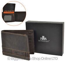 NEW Mens Bi-Fold BUFFALO LEATHER WALLET ROWALLAN Panama Gift Box Rugged Stylish
