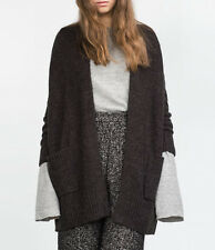 ZARA M / 38 40 WOOL OVERSIZE CARDIGAN KNIT JACKET COAT WOLLE STRICKJACKE JACKE