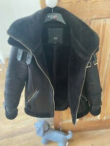 River Island Black Faux Shearling Aviator Jacket Size 12