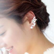 Nice Silver Spike Crystal Gem Stone Flower Pearl Ear Cuff Stud Earring Punk