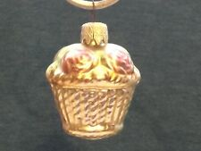 Antique Mercury Glass Christmas Tree Ornament Basket of Roses West Germany