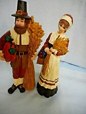 """Pilgrim Couple Harvest Figurines Thanksgiving 9"""" tall Midwest of Cannon Falls"""
