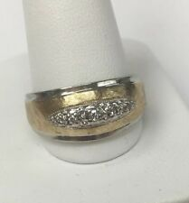 Men's Vintage 14K Two-Tone Ring with Diamonds Size 11.5