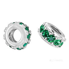 Sterling Silver Rondelle European Charm Spacer Bead w/ Emerald Green CZ #97212