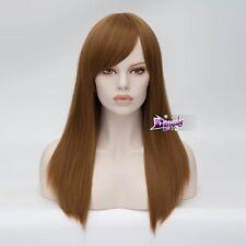 55CM Light Brown Long Straight Hair Heat Resistant Hair Lady Anime Cosplay Wig