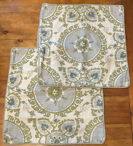 Pottery Barn Linen Embroidered Throw Pillow Cover Blue Green Beige 2pc Set 20x20
