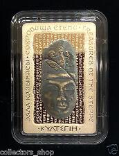 KAZAKHSTAN: 500 Tenge KULTEGIN rectangular silver coin 2016 PROOF 925