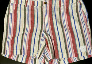 Old Navy Women's Everyday Shorts Linen Mid Rise Cream Stripes Size 20 Plus NWT