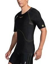 Skins Men's A400 Compression Short Sleeve Top Black w/Yellow Stitching