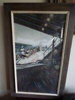 WATERCOLOR PAINTING SS LIBERTE CRUISE SHIP PASSENGERS 1950 ARTIST JAMES CARLIN