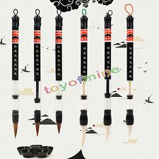 6x Chinois Japonais Piston Eau Brosse Calligraphie Weasel cheveux Pen+ Laine Pen