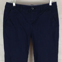 Stylus womens size 6 stretch navy blue flat front mid rise tapered chino capri