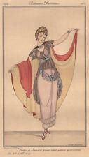 Fashion Leaf Dance Costume pochoirkolorit Original 1914!