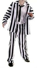 Black & White Striped Suit Fancy Dress Costume Halloween Mens M-L Beetlejuice