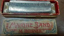 Vintage Harmonica Hohner Marine Band 1896 U.S. Patent Mouse Ears Key A Pre War !