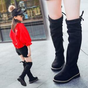 Kids Girls Suede Over The Knee High Stretch Flat Riding Boots Winter Shoes New