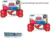 Dog Toy Kong GOODIE BONE Rubber Fetch Chew Classic Red Medium 2 PACK FREE TREAT