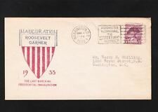 Roosevelt Garner 1933 Shield Inauguration Cover WAshington Radio Stamp Club  A