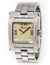 Chopard Happy Sport Square XL Stainless Steel MOP Diamond Watch 28-8448/20