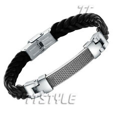 TTstyle 316L Stainless Steel Mesh ID Plate Black Leather Bangle