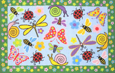 "3x5 Rug  Educational Insect Snail  Bee  Butterfly  Lady Bug Dragonfly 3'3""x4'10"""