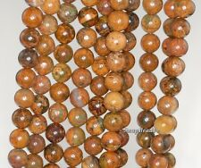 6MM GREEN OPAL GEMSTONE BROWN ROUND 6MM LOOSE BEADS 15.5""