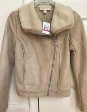 NWT$219 Michael Kors Women's Jacket Coat Lt Camel Faux Suede Moto Jacket XS NEW