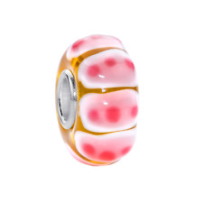 MATERIA 3D Murano Glas Beads Anhänger getupft 925 Silber rosa für Beads Armband