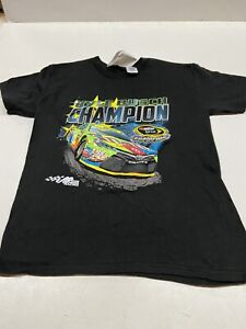 Kyle Busch # 18 Nascar Youth One Sided  Black Tee 2015 Cup Champion XSMALL