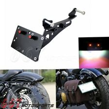 Motorcycle Side Mount License Plate Bracket w/ LED Light For Harley Sportster XL