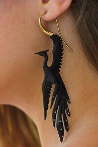 PhoenixEarring Tribal Dangle Black Horn Golden Brass Hook Unique Fake Ear Gauge