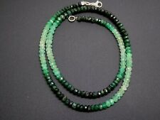 Colombian Green Emerald Faceted Gemstone Rondelle Sterling Silver Necklace 18""