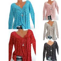 Womens Tops Long Sleeve Tunic T-Shirt Ladies Blouse Baggy Loose Boho Plus Size