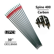 12Pcs Archery 30'' Carbon Shaft Arrows Bolts Spine 400 For Compoundbow Hunting