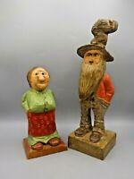 Vintage Hand Carved Wood Hillbilly Couple Orv Smuda Ma & Pa Painted Folk Art