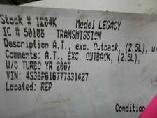 Automatic Transmission Fits 06 07 Legacy 25l Non Turbo Except Outback 752114 Fits Legacy