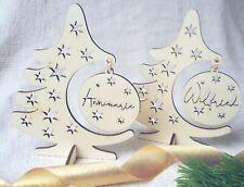 Weihnachtsbaum mit Christbaumkugel Personalisiert Weihnachtsdeko Holz Deko